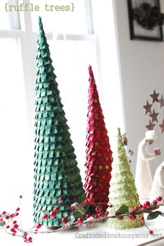 easy ruffle trees. craft tutorial here: http://www.craftaholicsanonymous.net/2011/11/ruffle-christmas-trees.html