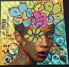 Madelyn White - this is sooo different and gorgeous.  A fun page in her loose leaf journal.  Used Dylusions paints, such yummy colors.  She added splatters and background interest with gold acrylic stencil paint. On THE DYAN REAVELEY SOCIETY OF ART JOURNALING Gateway Group.