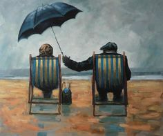 Umbrella Art, Under My Umbrella, Growing Old Together, Old Couples, Couple Art, Paint By Number, Drawing People, Contemporary Artists, Watercolor Art