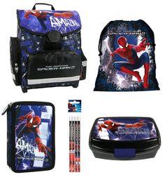 1bfe190687389 Spiderman Schulranzen Jungen 1 Klasse Tornister Schulrucksack Schultasche  SET 5 teilig für Grundschule super leicht unter 1 Kilo !