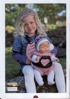 Album Archive - Dukketøj til Baby Born 2 - Ingelise Knitted Doll Patterns, Knitted Dolls, Doll Clothes Patterns, Baby Knitting Patterns, Clothing Patterns, Crochet Doll Dress, Knit Crochet, Crochet Hats, Baby Born