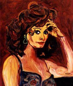 6-Sofia Loren.Pintura al óleo. 30x 24 cm. http://www.saatchionline.com/art-collection/Painting-Mixed-Media/Expresiones-de-CARMEN-LUNA/71968/25377/view