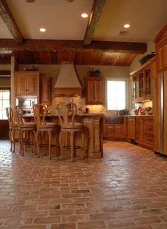 brick transition to wood | brick floor kitchens | pinterest