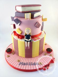 Matilda theme.. Lots of books!! - by LauraJaneCakeDesign @ CakesDecor.com - cake decorating website