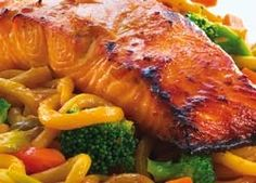 Teriyaki Salmon and Udon Noodles with Stir Fried Vegetables