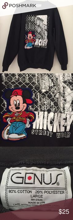 """Vtg 90s Disney Mickey Mouse streetwear sweatshirt Mickey is an embroidered patch on it :)) Excellent condition. 22"""" pit to pit Vintage Sweaters Crew & Scoop Necks"""