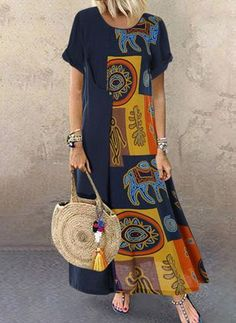 Cheap best O-NEWE Vintage Ethnic Print Patchwork Short Sleeve Plus Size Dress on Newchic, there is always a plus size print dresse suits you! Plus Size Maxi Dresses, Casual Dresses, Fashion Dresses, Floryday Dresses, Women's Fashion, Fashion Vintage, Fashion Online, Autumn Fashion, Vestidos Sexy