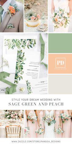 Spring Wedding Themes, June Wedding Colors, Peach Wedding Theme, Country Wedding Colors, Wedding Color Pallet, Neutral Wedding Colors, Dream Wedding, Wedding Ideas, Olive Green Weddings