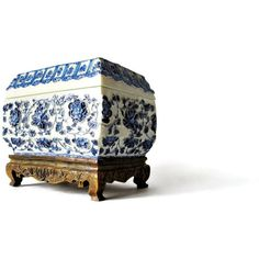 Chinese Trinket Box on Stand/ Ornate Carved and Etched Blue and White... ($26) ❤ liked on Polyvore featuring home, home decor, jewelry storage, resin trinket box and blue and white home decor