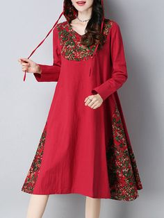 Cheap best O-NEWE Patchwork Printed Hooded Long Sleeves Dresses For Women on Newchic, there is always a plus size print dresse suits you! Nice Dresses, Casual Dresses, Fashion Dresses, Beautiful Dresses, Basic Outfits, Plus Size Outfits, Mode Russe, Outfit Chic, Vintage Outfits