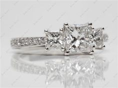 Platinum 3 Stone, Pave Set Diamond Engagement Ring with Princess 1.07 Carat E SI2 Very Good Cut Diamond.