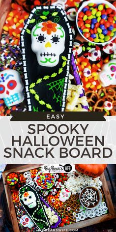 SPOOKY HALLOWEEN SNACK BOARD - Snack Boards or Charcuterie boards are super easy to put together, they look great at parties and they're fun to create to match themed and holidays! This Spooky Halloween Snack Board is perfect for Halloween and super colorful! Halloween Bark, Halloween Chocolate, Halloween Desserts, Potluck Recipes, Easy Dinner Recipes, Dessert Recipes, Candy Bowl, Party Food And Drinks, Chocolate Bark