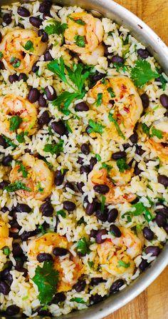 Cilantro-Lime and Black Bean Shrimp and Rice Skillet how to cook shrimp, easy shrimp recipes, best shrimp recipes, Mediterranean recipes, Italian recipes recipes Mexican Food Recipes, Vegetarian Recipes, Cooking Recipes, Healthy Recipes, Italian Recipes, Cooking Kale, Skillet Recipes, Casserole Recipes, Best Shrimp Recipes