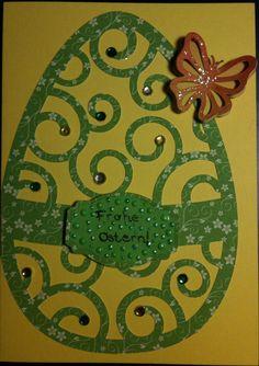 Gelbe Karte mit grünem Osterei und Schmetterling =)
