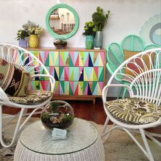 Family Love Tree. - boho painted cabinet, funky modern chairs.Love