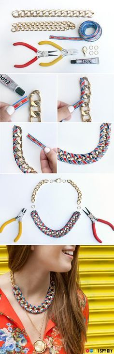 Complementos DIY: un collar con cadena recubierta de tela