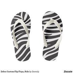 Zebra Custom Flip Flops, Kids