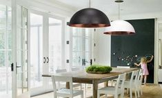 A wide modern dome pendant lamp. Available in Black-copper, black-silver bright copper and white-copper, and white-silver Diameter cm)- Height cm). Rustic Feel, Modern Rustic, Ceiling Canopy, Ceiling Lights, Pendant Lamp, Pendant Lighting, Black Pendant Light, Dining Area, Copper