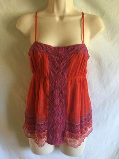 0340416 Free People Cami Blouse s Multi Color Lace Trim Spaghetti Strap Top | eBay