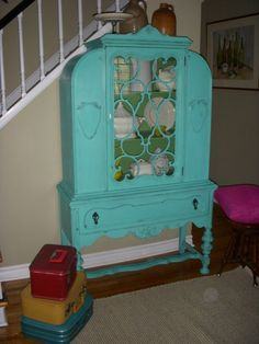 Turquoise Dining Room Hutch ~ love!
