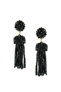 """These glass beaded earrings are 18 grams nickle and feature lead free post backs    Dimensions: 3.5"""" long  Crystal Tassel Earrings by Lisi Lerch. Accessories - Jewelry - Earrings Dallas Texas"""