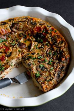 Pancetta and Mushroom Crustless Quiche...And easy and healthy brunch recipe! 111 calories and 3 Weight Watchers PP   cookincanuck.com #recipe