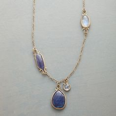 "TANZANITE OMEGA NECKLACE -- Luminous tanzanites suspended in delicate balance with rose cut moonstones. Handmade in USA by Jennifer Dawes with 14kt links and omega shaped findings. Lobster clasp. Approx. 18""L."