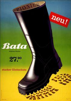 """Bata, Schweizer Fabrikat, starker Gleitschutz"" Switzerland, ca. 1952 #batashoes #bata120years #advertising"