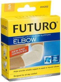 Futuro Comfort Lift Elbow Support, Small (9 to 10-Inch), Firm, 1 Support by Futuro. $5.80. Easy to put on and take off. Breathable dual-stretch power knit material for all-day comfort. Helps provide compression, relief and protection. Sleek sleeve design follows natural shape of arm and is discreet under clothing. Can be used on right or left elbow. Provides therapeutic warmth and compression. Ideal for tennis elbow & golfer's elbow. Anatomical shape for optimal fit & joint p...