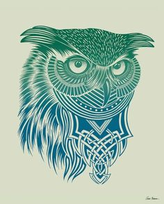 """""""Warrior Owl"""" - canvas wall art at Wheatpaste Art Collective"""