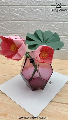 Try this beautiful origami craft with your family and friends. Give your home new decoration. Remember this is paper lotus flower, don't put it in the water, though it looks like real. Paper Flowers Craft, Paper Crafts Origami, Diy Crafts For Gifts, Paper Crafts For Kids, Flower Crafts, Diy Flowers, Paper Crafting, Paper Oragami, Real Flowers