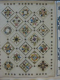 Sampler quilt made in a delicate palette. Several of the blocks in this quilt are Judy Martin originals. Sampler Quilts, Amish Quilts, Star Quilts, Scrappy Quilts, Quilt Sets, Quilt Blocks, Civil War Quilts, Cute Quilts, Quilt Border