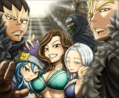 Fairy Tail - Laxus, Gajeel, Jellal, Cana, Mirajane and Juvia... You can see the dragon slayer resemblance in Gajeel and Laxus lol