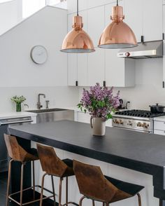 Anyone else crushing on copper fixtures right now  not to mention those stools! So much I love about this kitchen but those pendants really are a stand out for me  And not sure where this photo is from! We stumbled across it on Pinterest and searched high and low to find the source so we could credit! If anyone knows please tag in comments  Happy Monday all you beautiful people  . .. ... .... ..... ..... ...... ....... ........ ....... ...... ..... ... .. . #design #interiordesign #home…
