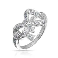 Pave CZ 925 Sterling Silver Ribbon Bow Ring Engravable