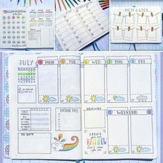 """July's spreads overview!  (almost wrote """"June""""  again... The amount of times…"""