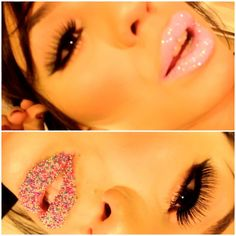 #pink #glitter #caviar inspired colorful lips - @chubbymuffin_