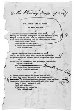 "Walt Whitman's ""O Captain, My Captain"" with his appended corrections and comments. Feb 9, 1888."