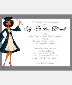Show off your Black Girl Magic with this fabulous African American Graduation Announcement.  It's the perfect way to announce your big day.  This fabulous invitation features an African American Graduate with naturally curly hair wearing a cap and gown.  See more at http://sweetberrylane.com
