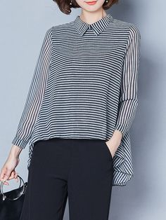 Casual Stripe Irregular Lapel Long Sleeve Blouses For Women Cheap - NewChic Mobile Chic Outfits, Fashion Outfits, Mode Hijab, Alter, Blouses For Women, Casual, Ideias Fashion, Costume, Long Sleeve
