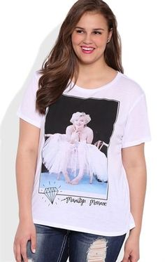 Plus Size Short Sleeve Crew Neck Tee with Marilyn Monroe Tutu Screen