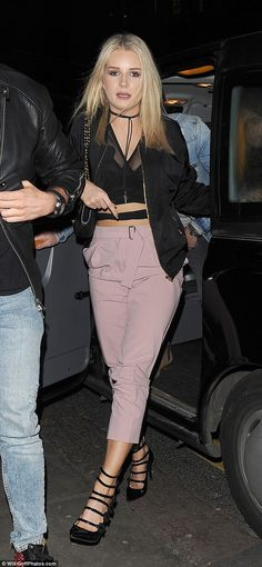 Pick up a pair of pink Topshop trousers like Lottie Moss #DailyMail Click 'Visit' to buy now