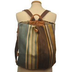 Handmade Triangle Backpack  in stripped multicolored fabric-leather  MADE TO ORDER