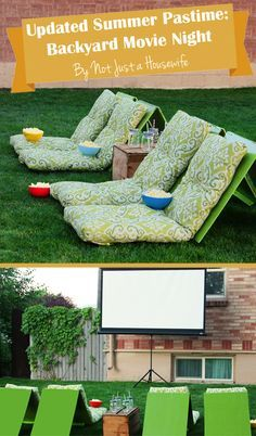 Deck out your yard with a portable screen, projector, and comfy cushions for an . - Deck out your yard with a portable screen, projector, and comfy cushions for an … – Outdoor Dec - Outdoor Projector Screen Diy, Outdoor Movie Screen, Outdoor Theater, Portable Projector, Backyard Movie Theaters, Backyard Movie Nights, Outdoor Movie Nights, Outdoor Movie Party, Outdoor Parties