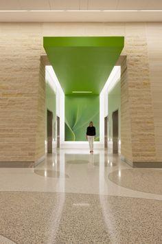 Indoor/outdoor feel + hallway interest/goal. Nemours Children's Hospital / Stanley Beaman & Sears