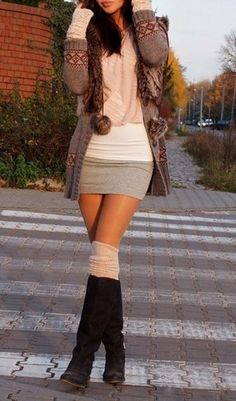 40 Sexy Winter Skirt Outfit Ideas | http://stylishwife.com/2014/11/sexy-winter-skirt-outfit-ideas.html