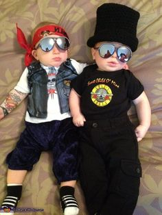 "Coordinated Halloween Costumes For Twins, Triplets, and Siblings Guns N' Roses This costume screams ""Welcome to the jungle!"" baby-style."
