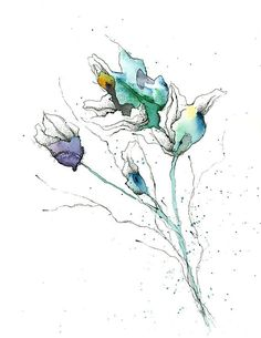 Ink & Watercolor Flowers Illustration Floral Fine Art Wall Print Home ...
