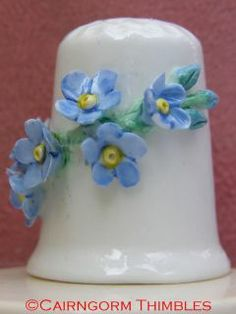 China Thimble with Applied Blue Forget Me not Flowers