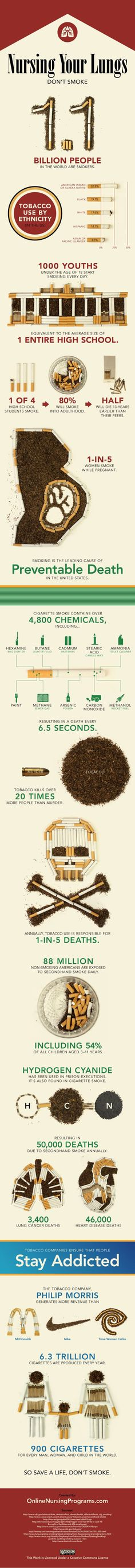 Smoking infographic developed by a nursing group. Read its effects on your lungs and society. #infographics